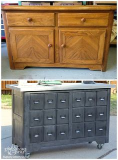 If you read the curbside china cabinet CPR post then you already know how we transformed the top part of the cabinet.  If not, you might want to go back and read about it here.  I immediately had a vision for the bottom buffet of the cabinet and enlisted the amazing Amy from Her Tool Belt t
