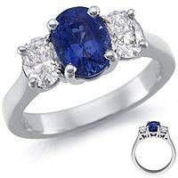 Oval diamonds are another popular choice for engagement rings or for any diamond jewelry. The ring above features an oval sapphire that's flanked on each side by brilliant oval-shaped diamonds. The platinum setting looks fantastic with these gems.