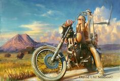 Depicted in this David Uhl artwork is Betsy Huelskamp, a well known biker lady.