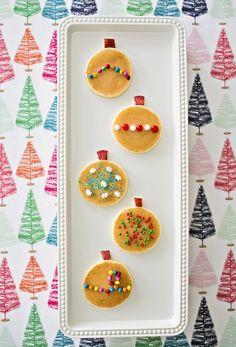 Pancake Ornaments. Cute Christmas breakfast or snack idea for kids.