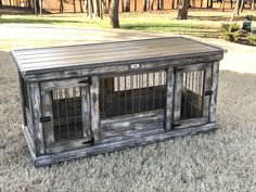 Farmhouse Style Weathererd & Distressed medium double dog kennel!  Our standard double kennels feature an interior center door that allows the space to become two separate spaces!  It's perfect for a TV stand or entry table!  Please consider donating your wire crate!
