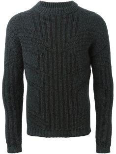 Les Hommes 几何拼接毛衣