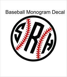 baseball car monogram sticker by MyMonogramHeaven on Etsy, $11.97