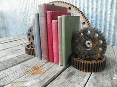 Steampunk Urban Industrial Bookends, Gears by Hippie Hog eclectic-bookends