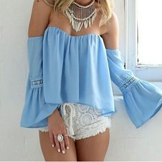 Off-shoulder Long Sleeves Sexy Falbala Casual Blouse - Oh Yours Fashion - 1
