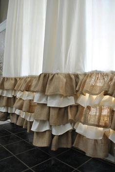 Ruffled Bottom Burlap Curtain Drapes by PaulaAndErika on Etsy