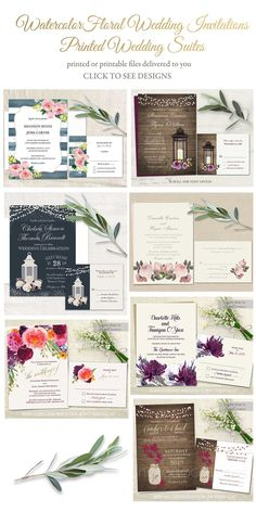 Watercolor Floral Wedding Invitations Inspirations.  Featuring Watercolor florals, realistic florals, mason jars, lanterns- there's a floral them for everyone. So today we offer this Floral Wedding Invitations board highlighting the gorgeous florals perfect for your 2017 Wedding.