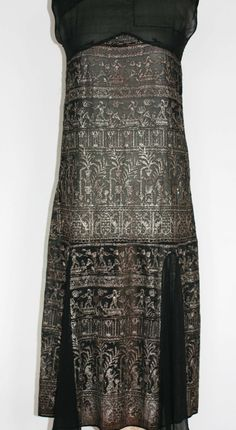 1920 Art Deco Silver Black Dress Egyptian.