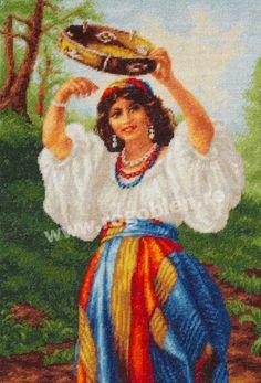 Cod produs Dans cu tamburina Culori: 37 Dimensiune: 17 x Pret: lei Diy And Crafts, Cross Stitch, Embroidery, Sewing, Crochet, Painting, Inspiration, Gypsy, Art