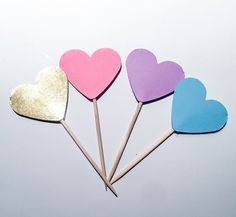 48 pack Gold, Pink, Purple and blue mini Cupcake Toppers | Food Picks | Birthday, Baby shower, birthday, wedding, Party decoration by ADreamPaperie on Etsy https://www.etsy.com/listing/467486448/48-pack-gold-pink-purple-and-blue-mini