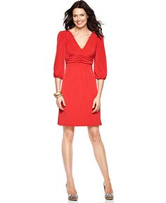 This would be perfect for work. Cute, shows a little skin ;) and classy too. [NY Collection Dress, Three Quarter Sleeve Empire Waist Jersey, Macy's]