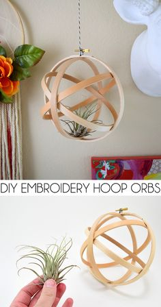 How to make an orb out of embroidery hoops. It makes a great hanging air plant…