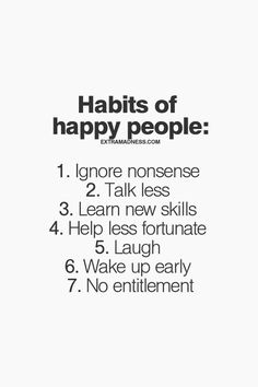 Happy people habits