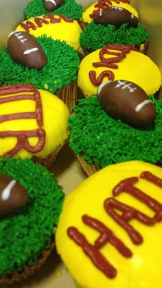 Red velvet cupcakes in gold tin cups with almond buttercream icing. Ready to tailgate for Redskins Wildcard Game.