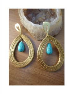 Earrings made with Golden Grass from Brazil-SemiPrecious by GOLDENGRASSDESIGN