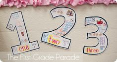 """Number anchor charts from """"The First Grade Parade. Kindergarten Anchor Charts, Numbers Kindergarten, Math Numbers, Math Stations, Math Centers, Math Resources, Math Activities, Number Anchor Charts, Number Chart"""