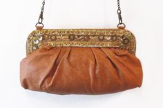 "Beaded Leather Clutch - Camel | $140 CLEARANCE $45 | Elegant and stylish #clutch with #beautiful #beaded detailing | W9"" x H6.5"" #leather #womens #giftidea #purse Leather Clutch, Camel, Shoulder Bag, Purses, Elegant, Stylish, Bags, Beautiful, Fashion"