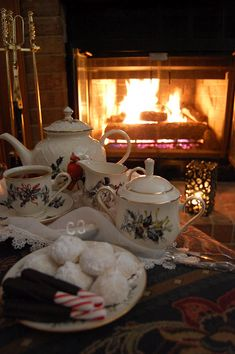 Cozy tea by the fire.