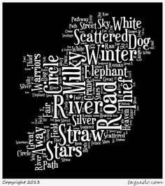 A tag cloud of the Milky Way's many names in the shape of the Emerald Isle. #ireland