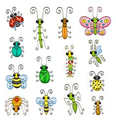 Illustration of Cartoon insects vector art, clipart and stock vectors. Doodle Drawings, Cartoon Drawings, Doodle Art, Rock Crafts, Arts And Crafts, Bug Cartoon, Insect Clipart, Painted Rocks, Vector Art
