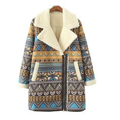 Vintage-Style Designer Tribal or Stripe Print Fashion Side Zip Shearling Leather Suede Coat 2 Colors S-L