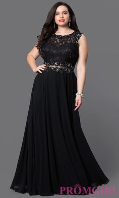 Shop long black plus-size prom dresses at PromGirl. Black sleeveless lace-bodice plus dresses with sheer waists, sequins and chiffon skirts. Plus Prom Dresses, Plus Size Long Dresses, Plus Size Cocktail Dresses, Evening Dresses Plus Size, Evening Gowns, Wedding Dresses, Dress Prom, Evening Party, Maxi Dresses