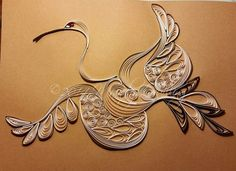 Quilled Stylistic Crane by Mainely Quilling, 8x10