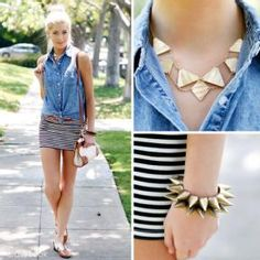Like the striped skirt with jean top..never would have thought of that
