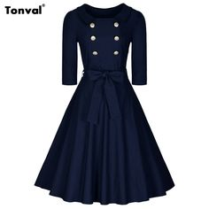 Tonval Buttons Swing Dress Half Sleeve Rockabilly Elegant Belted CD1525