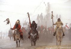 December 29, 1990. Photographer James Cook's beautiful image of the ride to the site of the Wounded Knee massacre to commemorate the centennial.