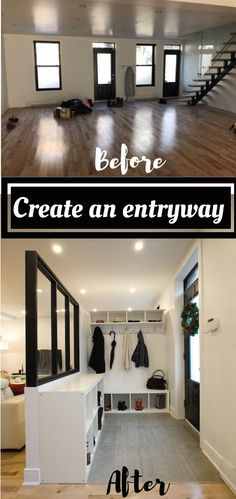 How to create an entryway with IKEA shelves and an industrial plexiglass and wood window / DIY entrée créée avec des étagères IKEA et une demi verrière en plexiglass et bois #verrière #entryway #entryhall #entree #rangement