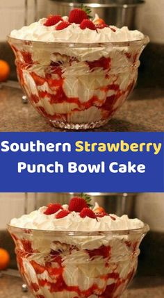 Southern Strawberry Punch Bowl Cake is part of Weight watchers desserts - Weight Watcher Desserts, Plats Weight Watchers, Weight Watchers Meals, Ww Recipes, Skinny Recipes, Cooking Recipes, Cooking Food, Healthy Cooking, Food Recipes Summer
