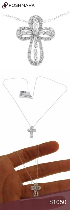 "Luxo Jewelry 0.70 Ct Diamond Gold Cross Necklace Luxo Jewelry 0.70 Ct Diamond 18k Gold Open Cross Pendant 14k Gold Chain Necklace  Type: Necklace  Wearable Length: 16"" Pendant Measurement: 21 mm * 15 mm Metal: White Gold Metal Purity: 18K Pendant 14K Chain Hallmarks: 18K & 14K Total Weight: 2.9 Gram Stone Type: 0.70 CT Diamond Color:G-H Clarity:VS-SI Stock Number: U48 Luxo Jewelry Jewelry Necklaces"