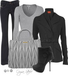 """""""Charcoal and Heather"""" by orysa on Polyvore"""