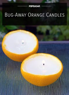 Keep Bugs Away With Scented Orange Candles (don't necessarily have to use an orange, but it has a good recipe for citronella candles)