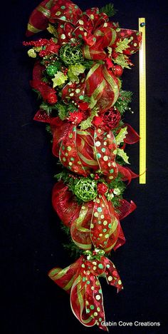HUGE 5 ft Teardrop Christmas Swag Wreath BLING Over the ToP Holiday Boutique red lime green Custom decorated by Cabin