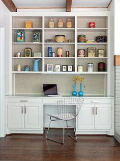SallyL: Beth Haley Design - Fantastic builtin cabinetry and desk/office area. Linen backed ... (Put cork behind the linen)