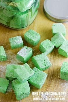 Mint Tea Marshmallows -- they get their delicious spearmint & peppermint flavor from herbal mint tea bags! So fun for Christmas or St. Patrick Day holiday treats.