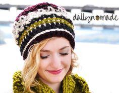Chunky Boho Beanie, Crocheted handmade Hat, Multicolor, Striped, Women's Bohemian Style Hat, Boho Winter Accessory by dallynmade on Etsy