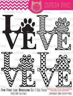 Love Paw Print Svg cutting file paw print animlas by CutesyPixel