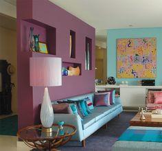 """Lindo! Drywall para fazer """"parede"""" da sala de estar e esconder a área de serviço."""