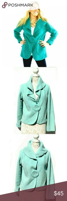 """SOFT CAMELEON FLOWER SNAP BIG COLLAR JACKET SOFT CAMELEON FLOWER SNAP BIG COLLAR JACKET Pre-Loved/ EUC  SZ M Very Soft Like a Blanket ! One Flower Like Snap Closing with Large Collar to Wrap Ur Neck in Comfort.  U can Roll Up the Cuffs Too! VERY Comfy  Approx Meas;    Pit to Pit   22""""    Sleeve   19""""    Back Neck Seam to Hem   22""""  Colors May Not be Exact due to Lighting or Ur Screen  Meas R Approx & Can be Interpreted Differently on How U Measure CAMELEON Jackets & Coats"""