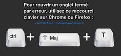 Vous avez fermé un onglet de votre navigateur par erreur ? Heureusement, il y a un truc tout simple pour rouvrir un onglet fermé par erreur.  Découvrez l'astuce ici : http://www.comment-economiser.fr/rouvrir-onglet-ferme-par-erreur.html?utm_content=buffer48a03&utm_medium=social&utm_source=pinterest.com&utm_campaign=buffer