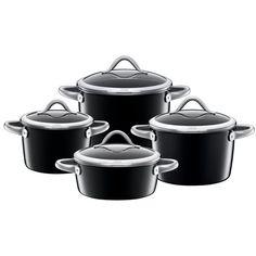 Zestaw garnków Nero - 4 elem. - od SILIT  #germandesign #decosalon #design #dizajn #kitchen #accessories #kuchnia #akcesoria #pot #oven #baking #cooking www.decosalon.pl
