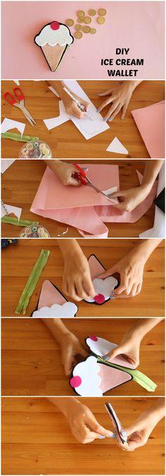 DIY Felt wallet #diy #felt #icecream #wallet #retro #crafts #handmade #nasılyapılır #kendinyap #elyapımı