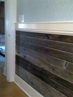 Half wall with old wood & trim