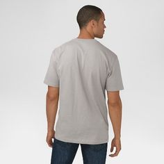 Dickies Men's Big & Tall Cotton Heavyweight Short Sleeve Pocket Henley Shirt- Heather Gray L Tall, Size: LT