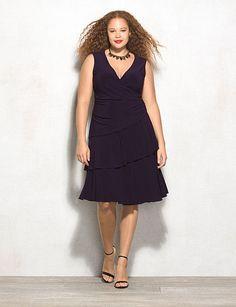 bd5f6408fbc Luxe By Carmen Marc Valvo Plus Size Tiered Wrap Dress