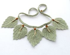 Crochet Necklace  Natural Linen Necklace Choker by CraftsbySigita,