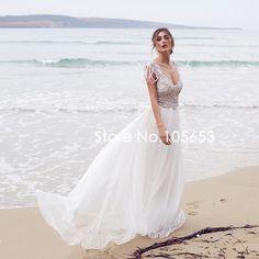 Sexy A line Backless Long Chiffon Wedding Dress Short Sleeves Beaded Beach Wedding Dress Boho Wedding Dress A369-in Wedding Dresses from Weddings & Events on Aliexpress.com | Alibaba Group